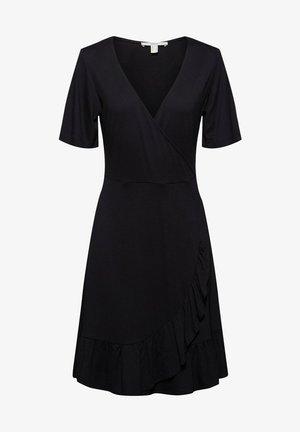VNECK FRILLS - Korte jurk - black