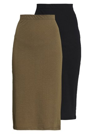 NMANJA SKIRT 2 PACK - Pencil skirt - black/olive night