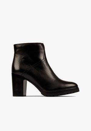 High heeled ankle boots - zwart leer