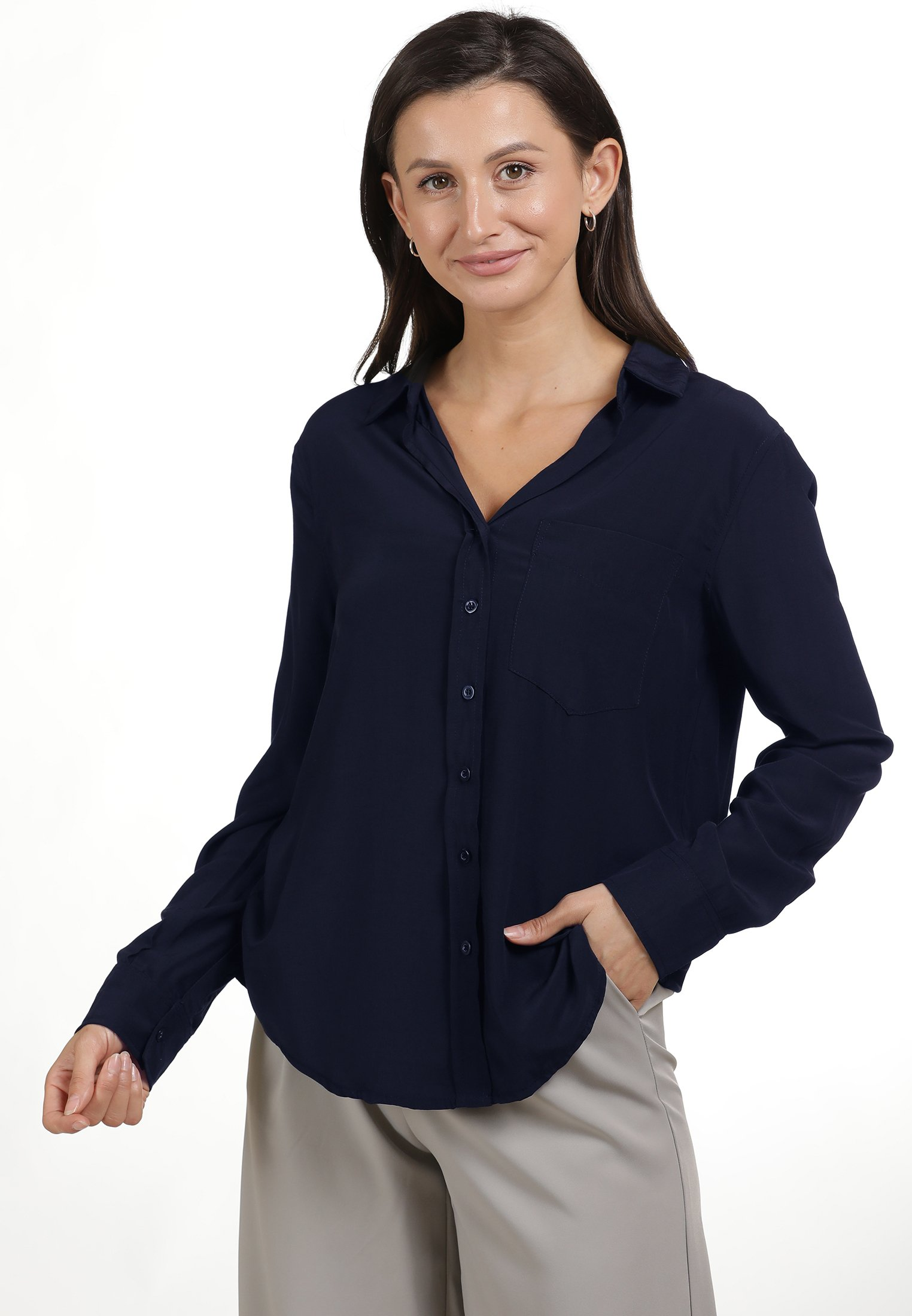 Classic Women's Clothing usha Button-down blouse marine QKbHx4DRF