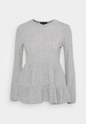 SOFT DOUBLE PEPLUM  - Long sleeved top - mid grey