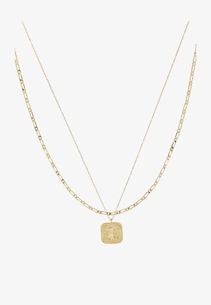 SQUARE COIN CHAIN ROW NECKLACE 2-IN-1 - Necklace - pale gold-coloured
