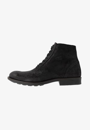 CHECK - Lace-up ankle boots - black