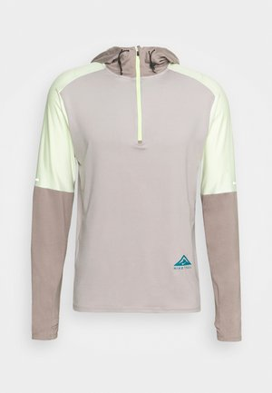 TRAIL HOODIE - Sportshirt - college grey/moon fossil/lime ice