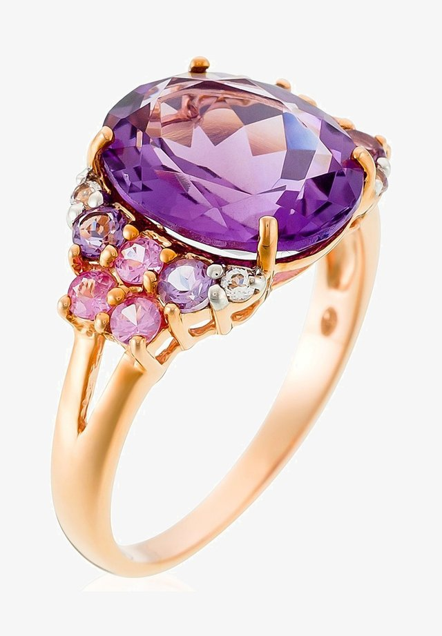 9K ROSE GOLD RING CERTIFIED 15 STONES 5.3 CTS - Ring - pink