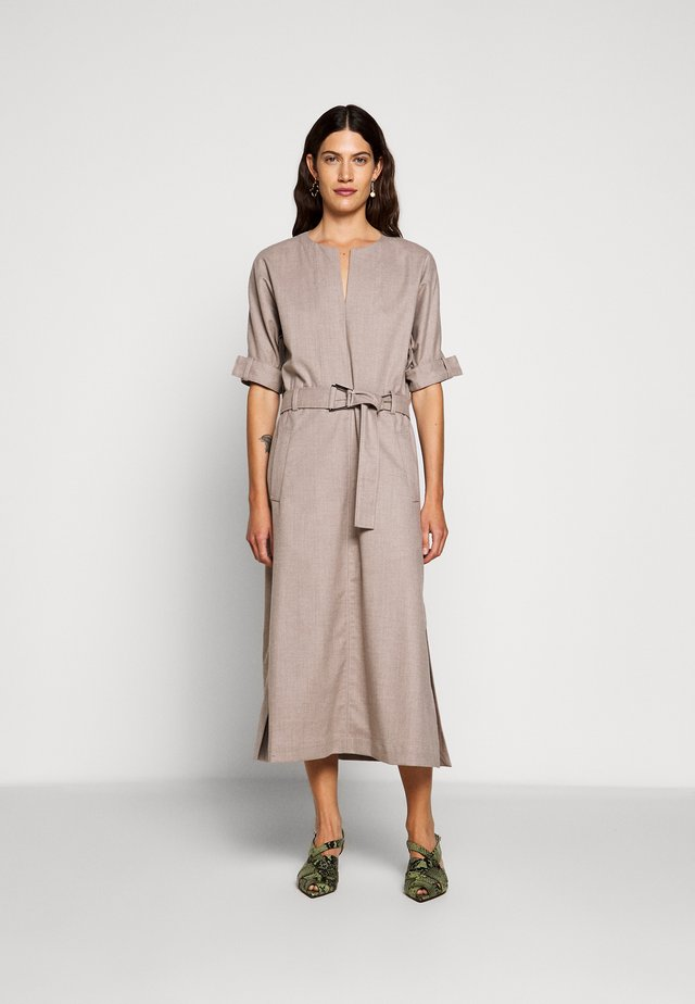 BELTED DOLMAN SLEEVE DRESS - Day dress - warm grey melange