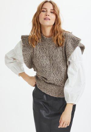 Stickad tröja - chocolate brown melange