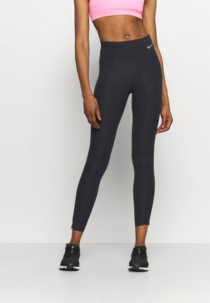 FASTER 7/8 - Leggings - black/gunsmoke