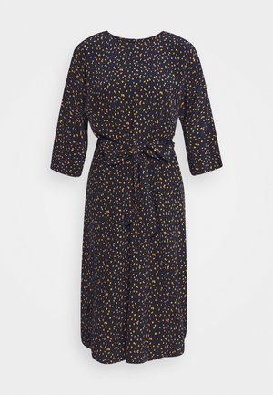 DRESS BAT SLEEVES BELTED - Day dress - navy/orange