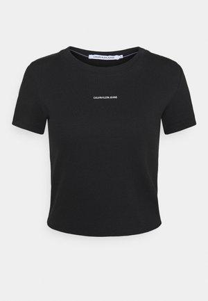 MICRO BRANDING CROP - Print T-shirt - black