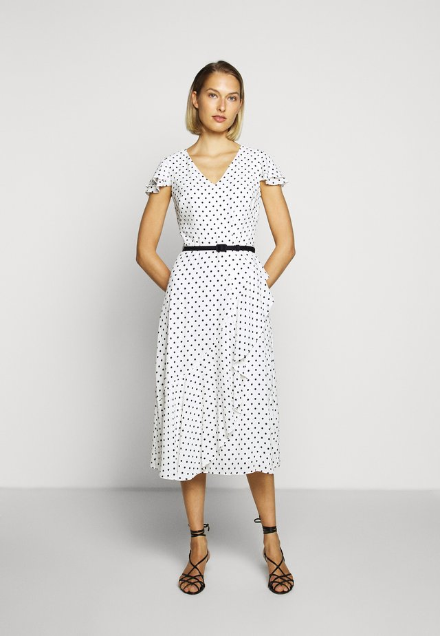 PRINTED DRESS BELT - Day dress - colonial cream