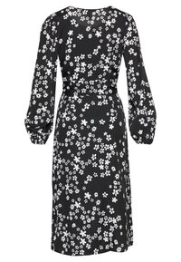 New Look - MIXED MONO FLORAL WRAP MIDI - Kjole - black - 1