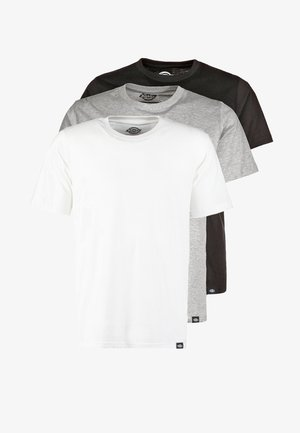 3 PACK - Basic T-shirt - schwarz/grau/weiß