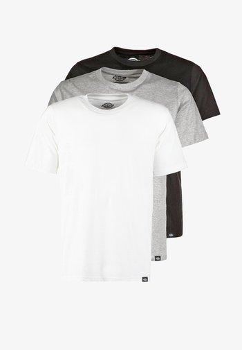 3 PACK - T-shirt basique - schwarz/grau/weiß