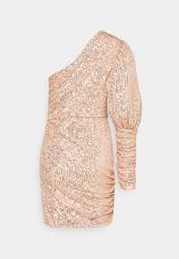 Missguided - PREMIUM PARTY ONE SHOULDER ROSE GOLD RUCHED PUFF SLEEVE DRESS - Cocktail dress / Party dress - rose gold - 1