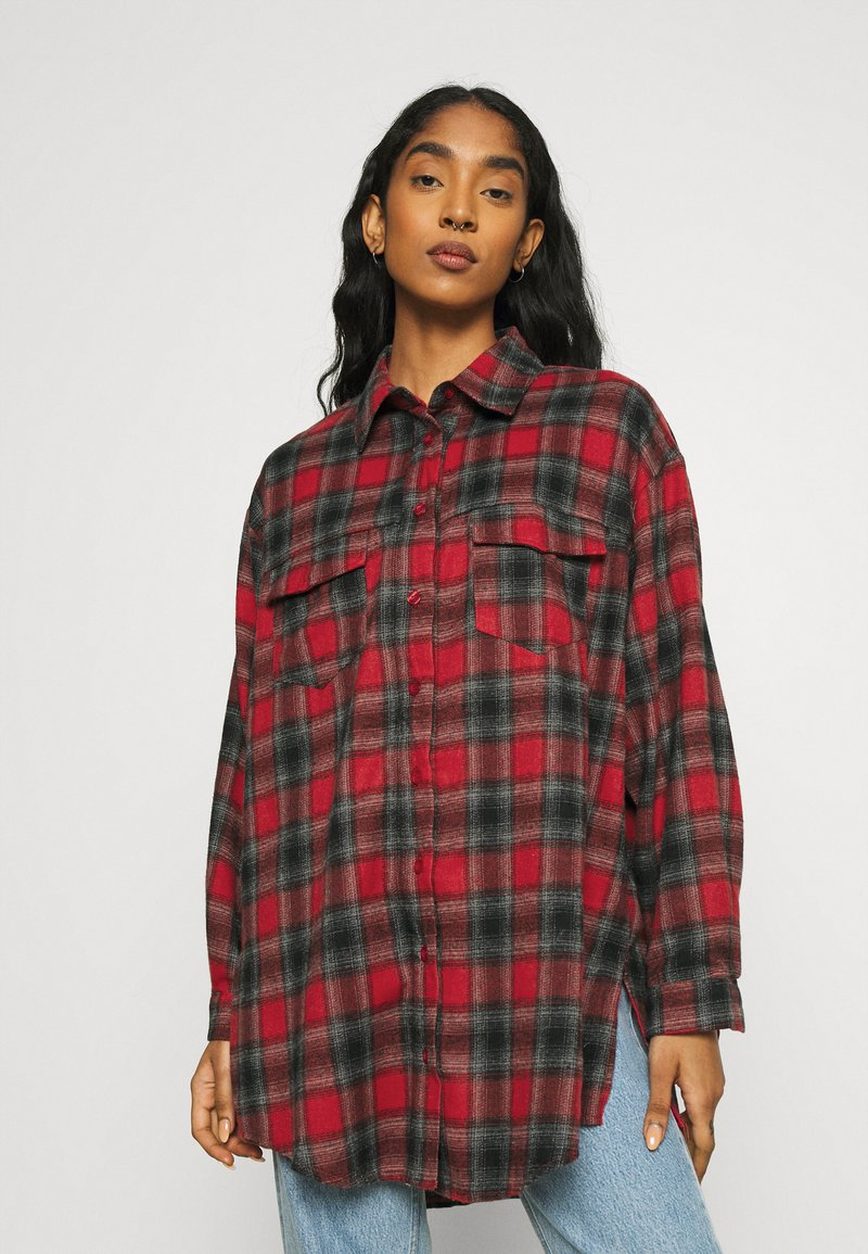 Missguided - BRUSHED OVERSIZED BASIC CHECK  - Button-down blouse - red