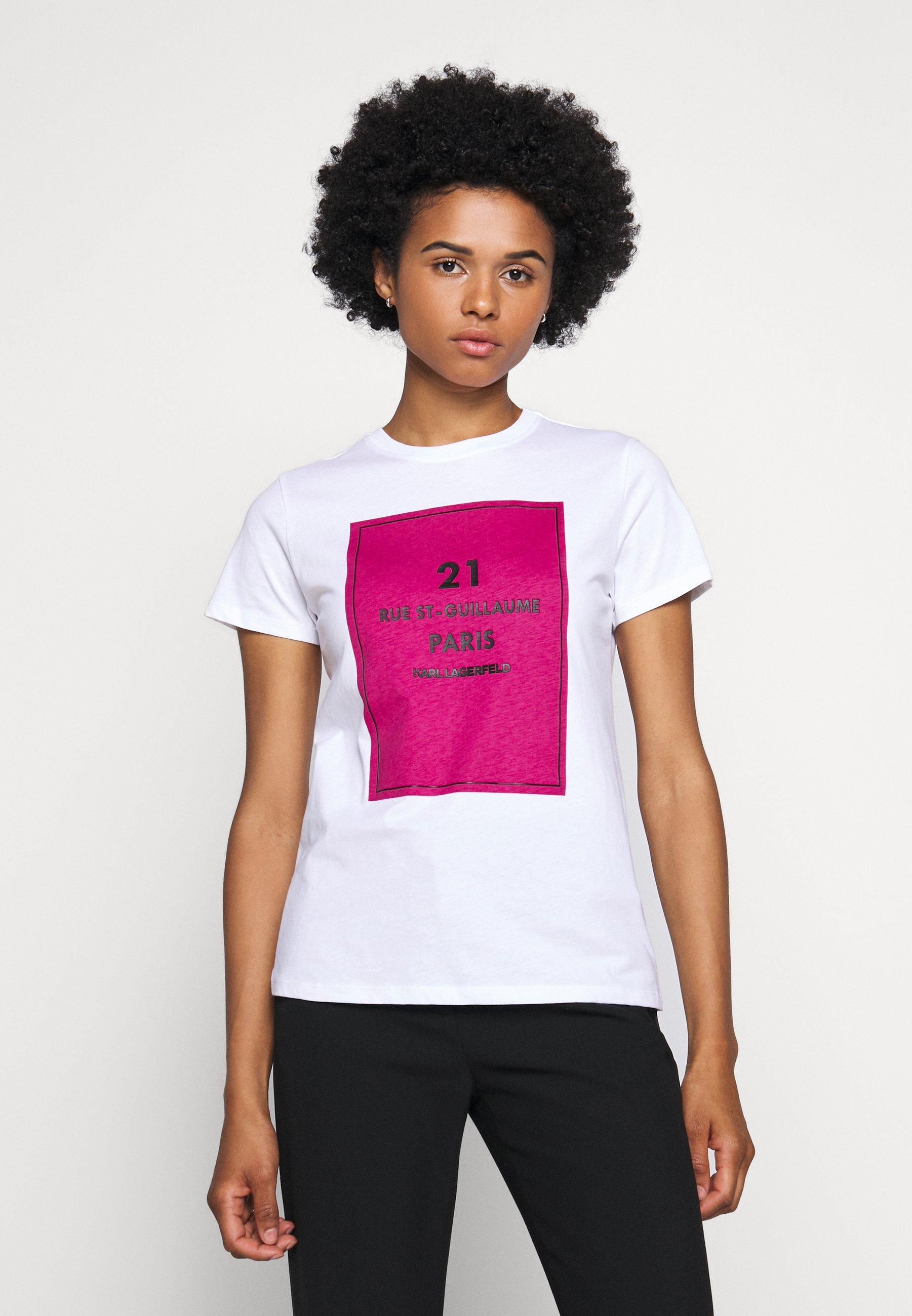Big Sale Women's Clothing KARL LAGERFELD SQUARE ADDRESS LOGO Print T-shirt white evaTLky8P