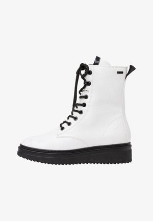 Platform ankle boots - white/black