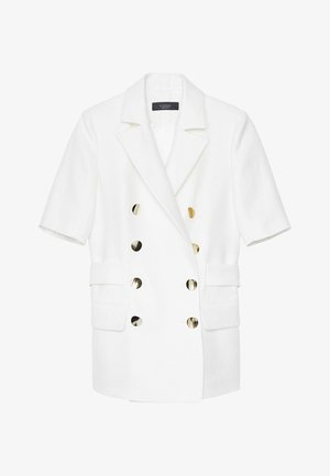MIT GOLDFARBENEN KNÖPFEN - Short coat - white