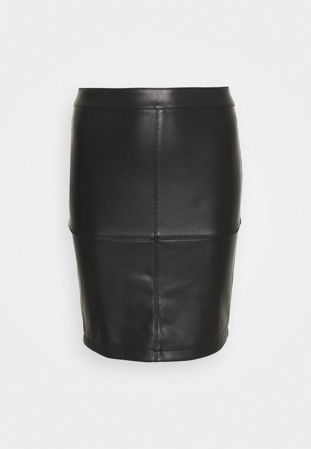 VIPEN NEW COATED SKIRT - Minirock - black