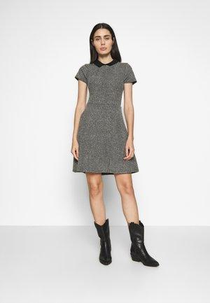 BLACK COLLAR FIT AND FLARE DRESS - Jumper dress - black