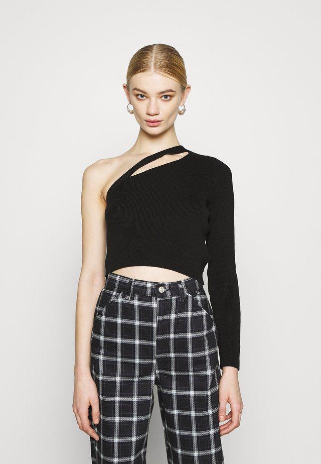 SPLICED ONE SHOULDER - Sweter - black