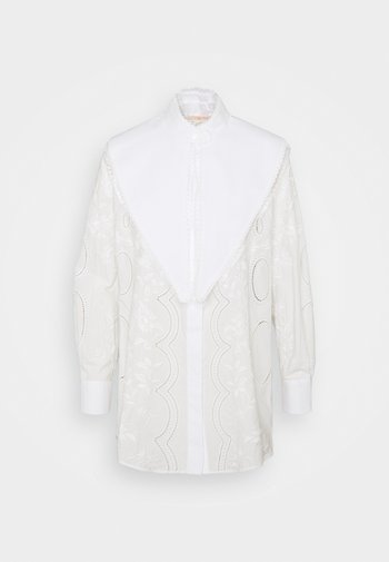 EMBROIDERED POPLIN TOP WITH REMOVABLE COLLAR - Button-down blouse - white