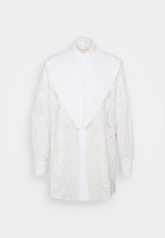 EMBROIDERED POPLIN TOP WITH REMOVABLE COLLAR - Overhemdblouse - white
