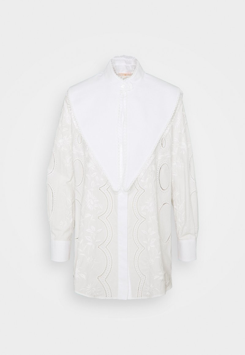Tory Burch - EMBROIDERED POPLIN TOP WITH REMOVABLE COLLAR - Button-down blouse - white