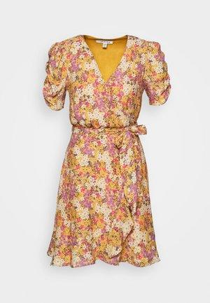 TRINA WRAP MINI DRESS - Day dress - dark yellow