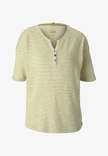 T-shirt print - offwhite green stripe