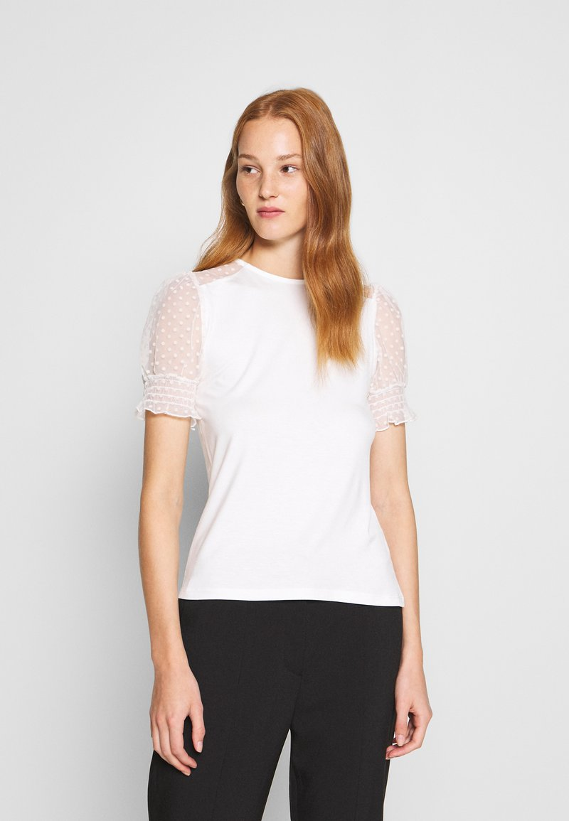 Dorothy Perkins - DOBBY PUFF SLEEVE  - Print T-shirt - white