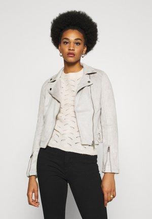 BIKER - Faux leather jacket - grey