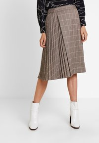 Apart - GLENCHECK PLISSEE SKIRT - A-line skirt - taupe/multicolor - 0