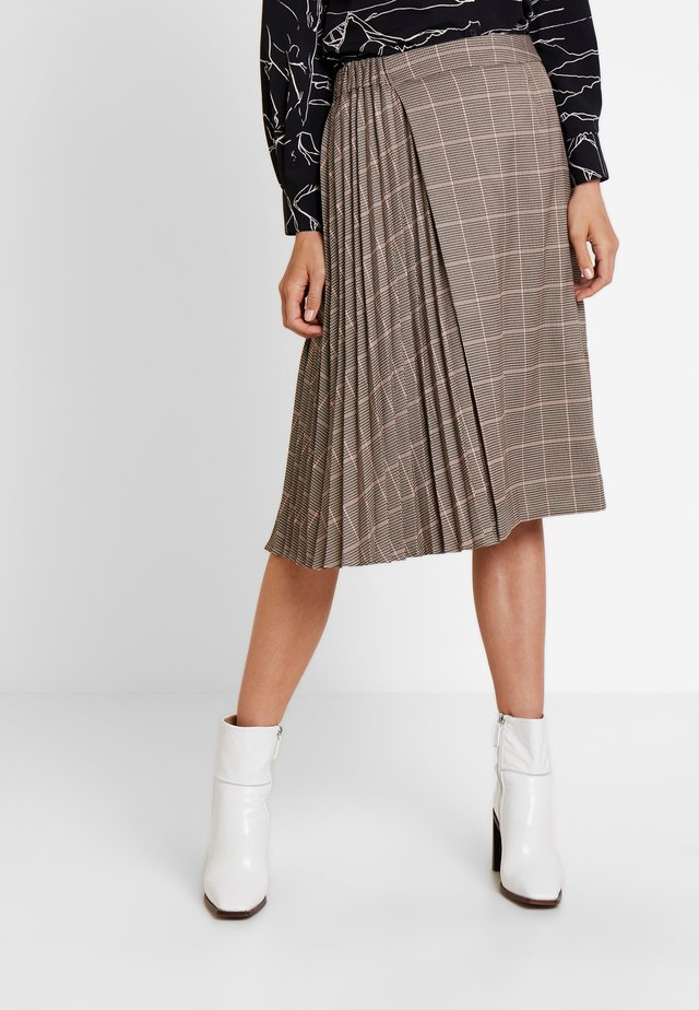 GLENCHECK PLISSEE SKIRT - Gonna a campana - taupe/multicolor
