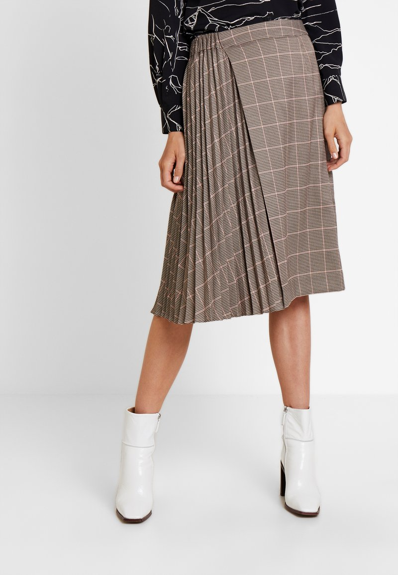 Apart - GLENCHECK PLISSEE SKIRT - A-line skirt - taupe/multicolor