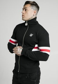 SIKSILK - ZIP THROUGH FUNNEL NECK - Felpa aperta - black/white/red - 0