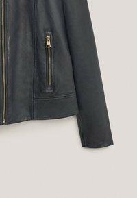 Massimo Dutti - Faux leather jacket - blue-black denim - 3