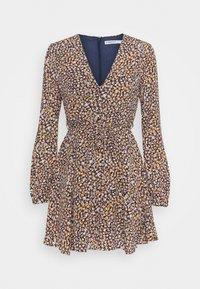Glamorous Petite - LONG SLEEVE SKATER DRESS WITH V NECKLINE - Day dress - navy/multi - 0