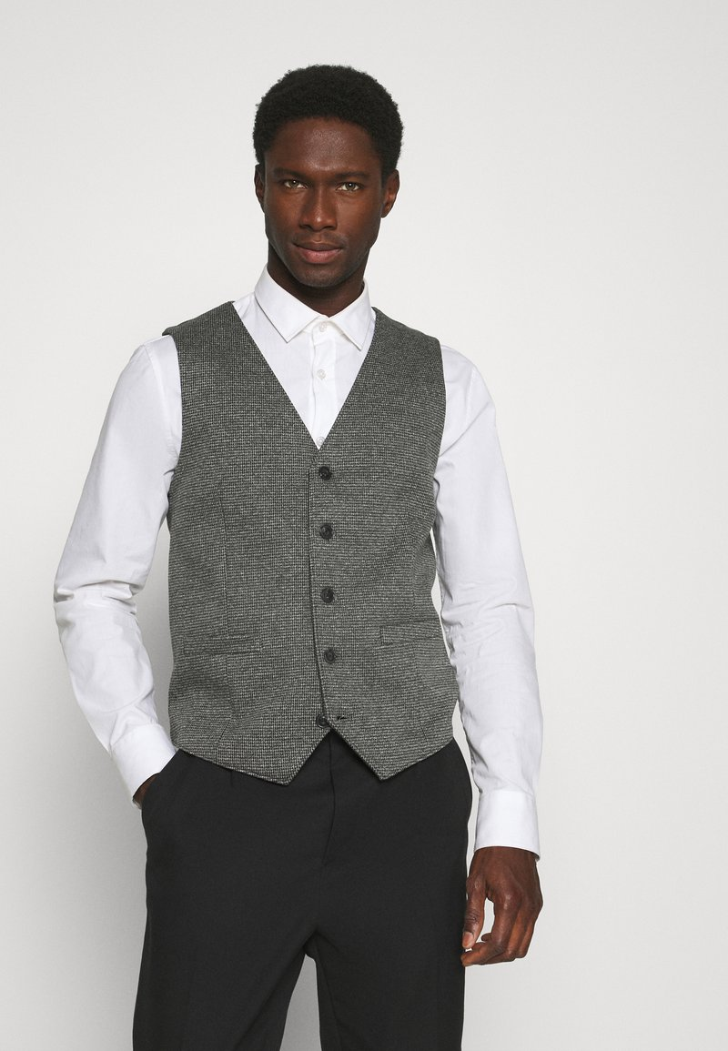 TOM TAILOR - HOUNDSTOOTH - Waistcoat - grey houndstooth