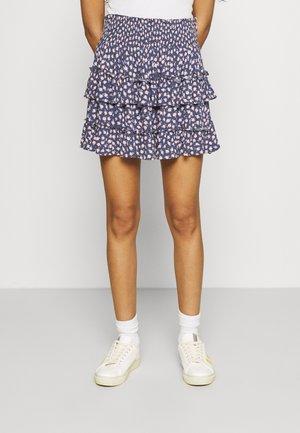 RUFFLE MINI SKIRT - Minifalda - mottled dark blue