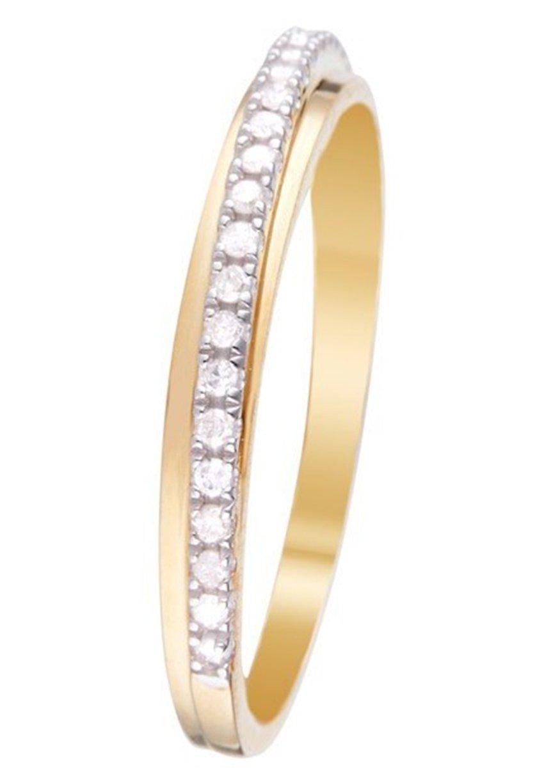 Mujer 9K YELLOW GOLD RING CERTIFIED 24 DIAMONDS HP1 0.12 CT - Anillo