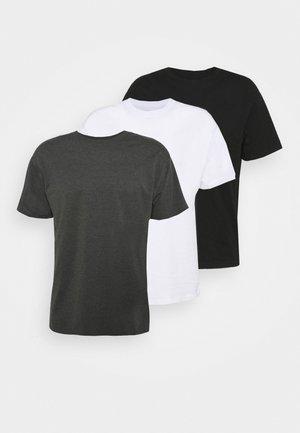 ESSENTIAL SKATE 3 PACK - Basic T-shirt - black/white/charcoal marle