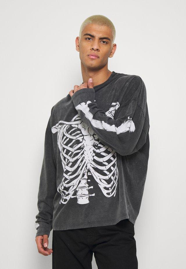 WASHED RIBCAGE  - Long sleeved top - black
