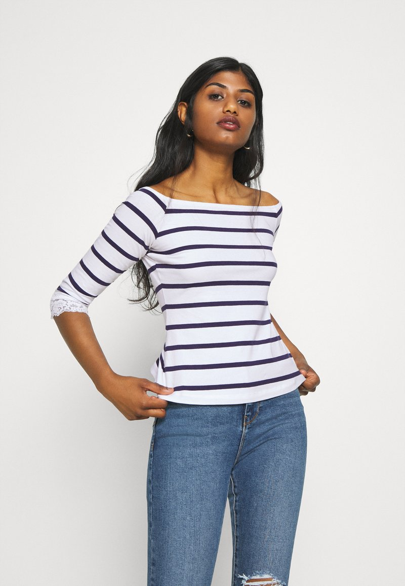 Anna Field Petite - Print T-shirt - white/dark blue