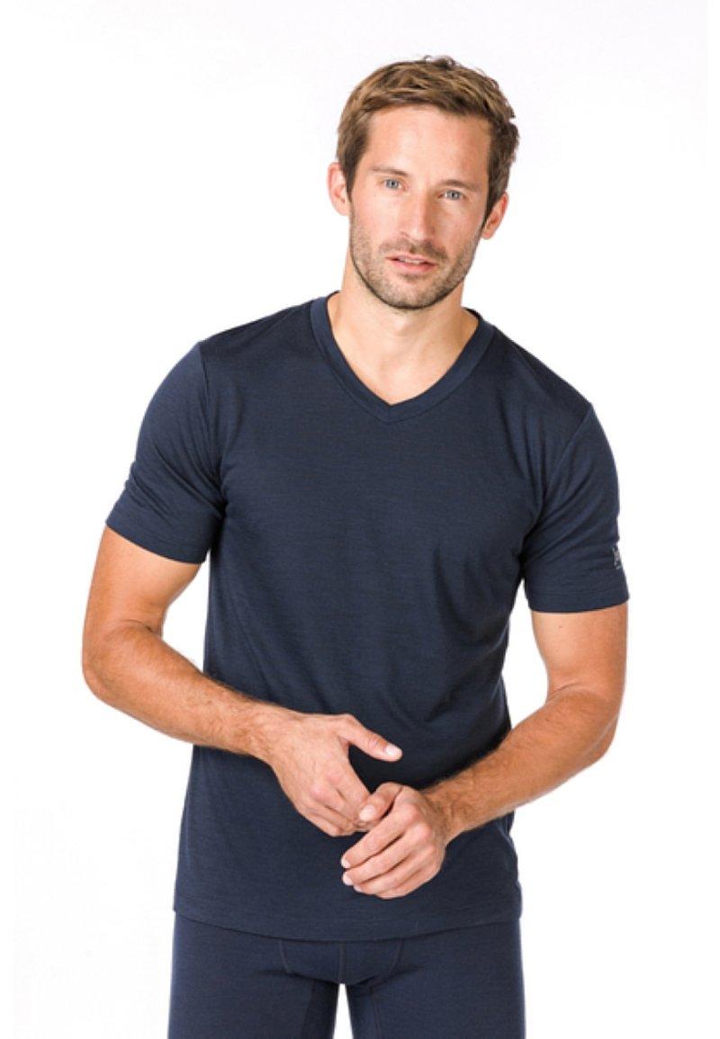 super.natural - SUPER.NATURAL MERINO T-SHIRT M BASE V-NECK TEE 140 - Basic T-shirt - blau
