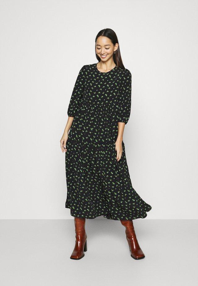 TIERED MIDAXI DRESS - Denní šaty - black
