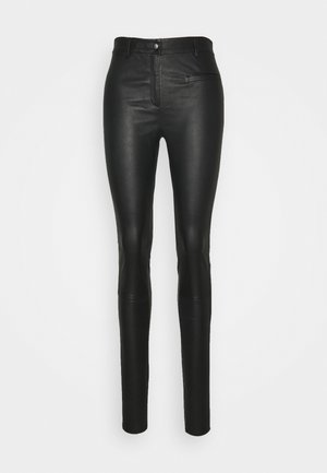 SLFURBAN STRETCH PANT - Leather trousers - black
