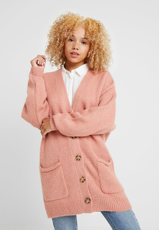 DROP SHOULDER BOTTON CARDIGAN - Strickjacke - mauve shadow