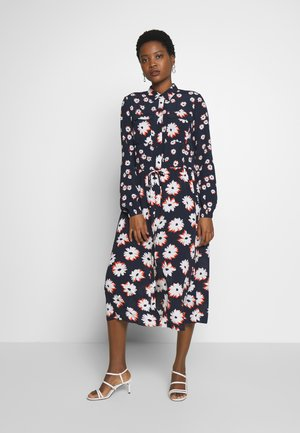 MIDI FLOWER DRESS - Košilové šaty - navy blue